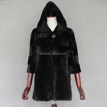 Women's Real Whole Skin Mink Fur Coat Hooded Sable Fur Coat