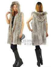 Cx-g-b-68 caliente la venta de las mujeres para hacer punto de piel de conejo con chaleco de piel de mapache cuello