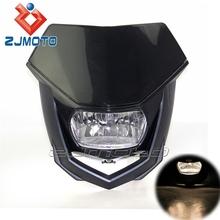 YM-030-BK Made in China Black Polypropylene Dirt Bike Motorcycle Universal H4 35/35W Street Fighter headlamp Head lamp Headlight