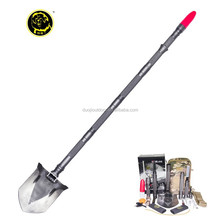 2015 Popular unique camping equipment tool multifunction shovel with wood cutting saw and glare flashlight