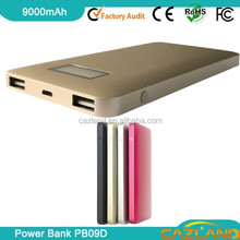 new design custom brand oem 9000mah cheap power banks with digital LCD display /dual USB output