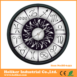 Metal twelve constellations dial printing wall clock for gifts