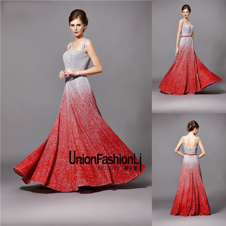 2015 modern gradient color design full shine sequin red for Red and black wedding dresses for sale