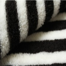 white able black stripe printing sherpa fabric