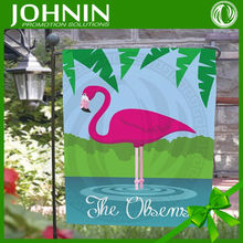 2015 new design personalized pink flamingo garden flag