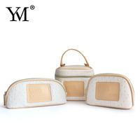 2015 Beauty promotional fashion camping travel leather hanging cosmetic bag for ladies