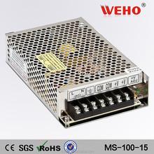 Aluminum shell mini 5V 12v 15v 24v 100w smps 110 ac volts to 15volt dc power supply