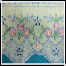 Garment colorfull embroidery cotton lace fabric