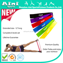 """Resistance Loop Bands - Premium Set of 6 Exercise Fitness Bands 12""""x 2"""" plus Workout Manual and Lifetime Guarantee"""