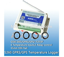 S260 GSM SMS alarm controller with 4- way temperature input ,GSM SMS Temperature Alarm, GSM heat sensor alarm