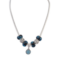 7018 Charm Chunky Necklace Glass Beads Fashion Jewelery