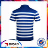 Men and Women Basic Sublimation Golf Polo Button Casual Striped Dress shirt Blue White