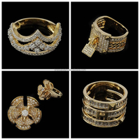 Many Different Beautiful Fashion Long Finger Ring Designs 18K Gold Plated Zircon Rings