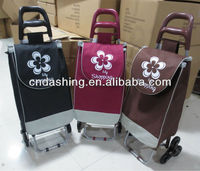 Folding shopping cart with three wheel