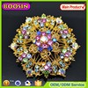 2015 Gorgeous gold plated round shaped handmade metal flower brooch #5283