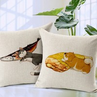 Lovely Cartoon Hand Drawing Cat Dog Printed Cushion Covers bulk decorative cushion covers plain