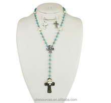 Necklace and earring jewelry set Chain necklace with mini pearl and stone like beads and crystal accented cross