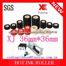 Rodillo de tinta caliente tipo Fineray XJ marca 36mm * 36mm de color negro para bolsas de comida código de fecha