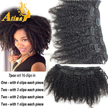 2015 Most Popular Afro kinky Curly Hair Extension Natural Black Clip In Hair Extensions For African American Women