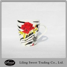 top quality rose design with decal ceramic mug new bone china