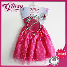 SW-1036 2015 New Arrival Top Quality Rose-bengal Color Kids Party Fairy Dress with white dots Girls Prom Gliter Dresses