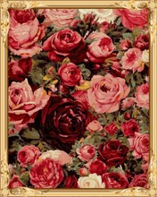 diy wall art rose paint by number flowers GX7524