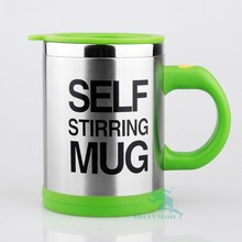2015 new design stainless steel auto stirring battery coffee mug