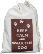 KEEP CALM AND WALK THE DOG - SMALL NATURAL COTTON DRAWSTRING BAG - Doggy Pet