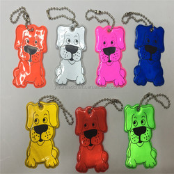 2016 factory directly high visibility dog shape soft reflective cheap pvc keyring custom