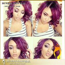 10inch Ombre Wavy Brazilian Hair Wig Side Part 1B/Purple Lace Front Human Hair Wig