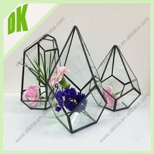 Shipping costs can vary greatly depending on your location / Hand cut geometric glass vase with hole