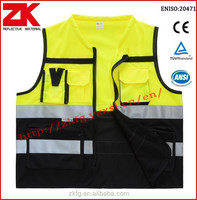 EN ISO20471 safety high visibility vest with reflective tapes