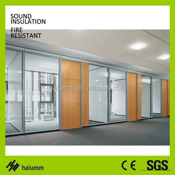 Decorative Glass Partitions Double Glass And Wood Fixed