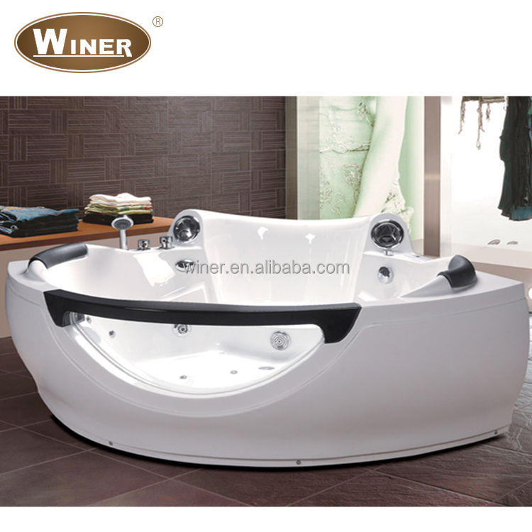 2015 Cheap 2 Person Freestanding Whirlpool Massage Shallow Corner Bathtub For