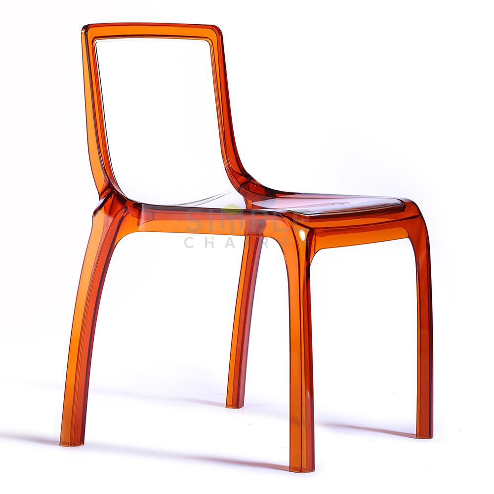 Polycarbonate white purple orange grey dining room chair for Orange and grey dining room
