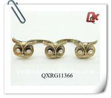 Fashion two finger three owl finger ring (QXRG11366)