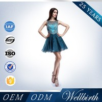 A-Line Sleeveless Beading Royal Blue Plus Size Cocktail Dress For Fat Women