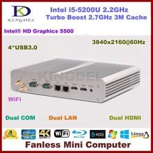4GB RAM 128GB SSD Core i5 Fanless Mini Itx Industrial Desktop PC Metal Case with Intel i5-5200U Processor Dual Com 2 LAN Port