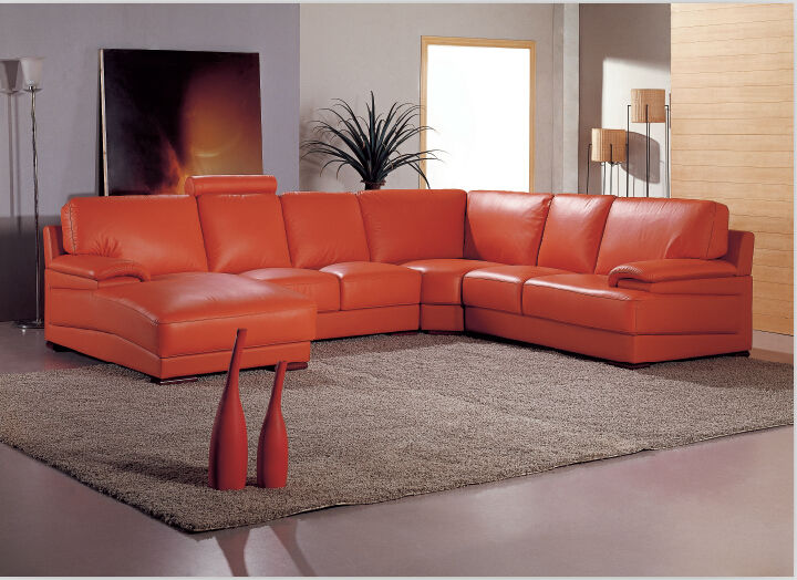 Orange Sofa Leather U Shape Modern Couch For Living Room Furniture View Oran