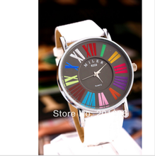 2015 New Hot Sell Miller Leather Strap Ladies Analog Round Dial Colorful Roma Numbers White Fashion Quartz Watches Women