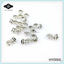 HY0066 Fashion Jewelry Findings Antique Silver Plated Big Hole Bead Spacers Charms Bracelet Necklace Accessories