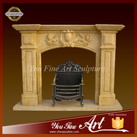 Ornamental Life Size Yellow Marble Fireplace