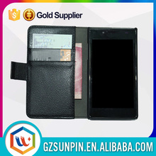 Card slot mobile phone leather wallect flip cover case for lg l fino