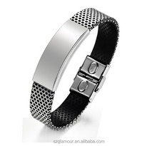 New Arrival Attractive Design Fine Polishing Stainless Steel Fashion Men Leather Bracelets