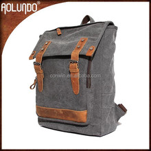OEM manufactory canvas leather rolling backpacks