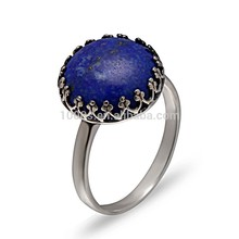 Ronda popular azul piedras preciosas anillo spar/joyería de plata
