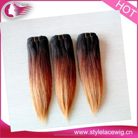 Best quality natural color remy hair silky straight wave brazilian ombre hair weaves/beauty ombre hair extension