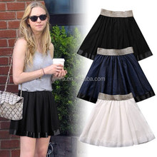 Customized hot selling girl's pure color lace short skirts