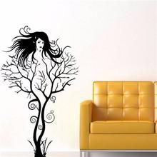 Colorcasa çıkarılabilir vinil duvar sticker aile dekoratif ağaç ve kadın duvar çıkartma sanatı için duvar kağıdı oturma odası( zy8464)