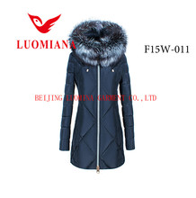plus size european style silver fox fur collar down feather winter coat